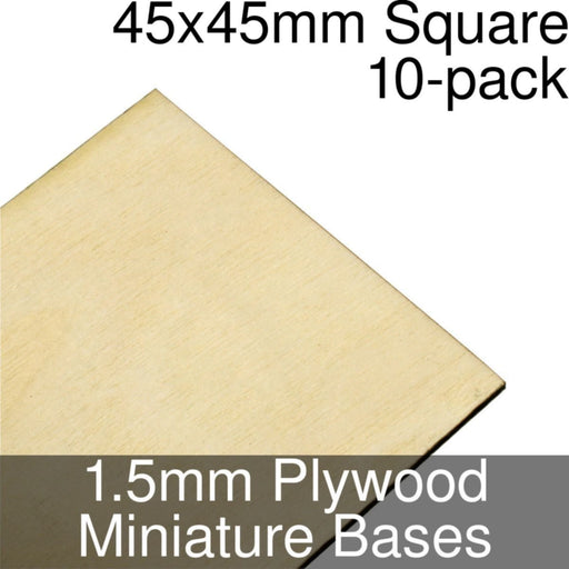 Miniature Bases, Square, 45x45mm, 1.5mm Plywood (10) - LITKO Game Accessories