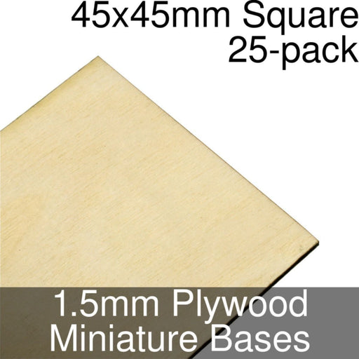 Miniature Bases, Square, 45x45mm, 1.5mm Plywood (25) - LITKO Game Accessories