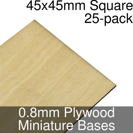 Miniature Bases, Square, 45x45mm, 0.8mm Plywood (25) - LITKO Game Accessories