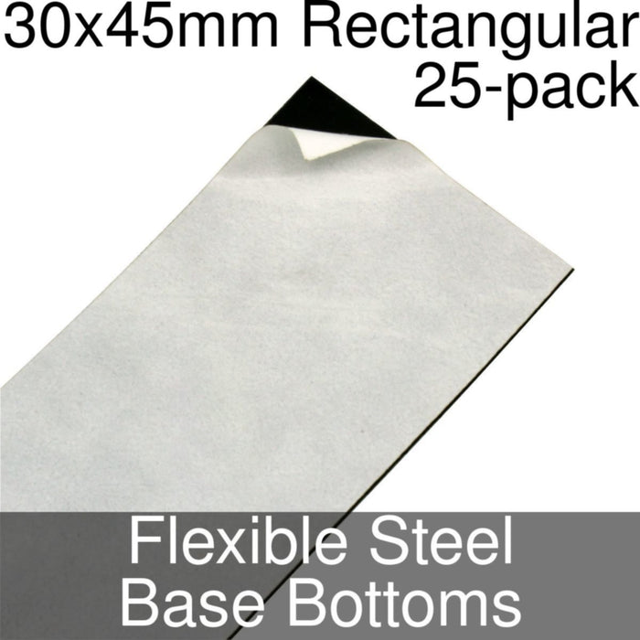 Miniature Base Bottoms, Rectangular, 30x45mm, Flexible Steel (25) - LITKO Game Accessories