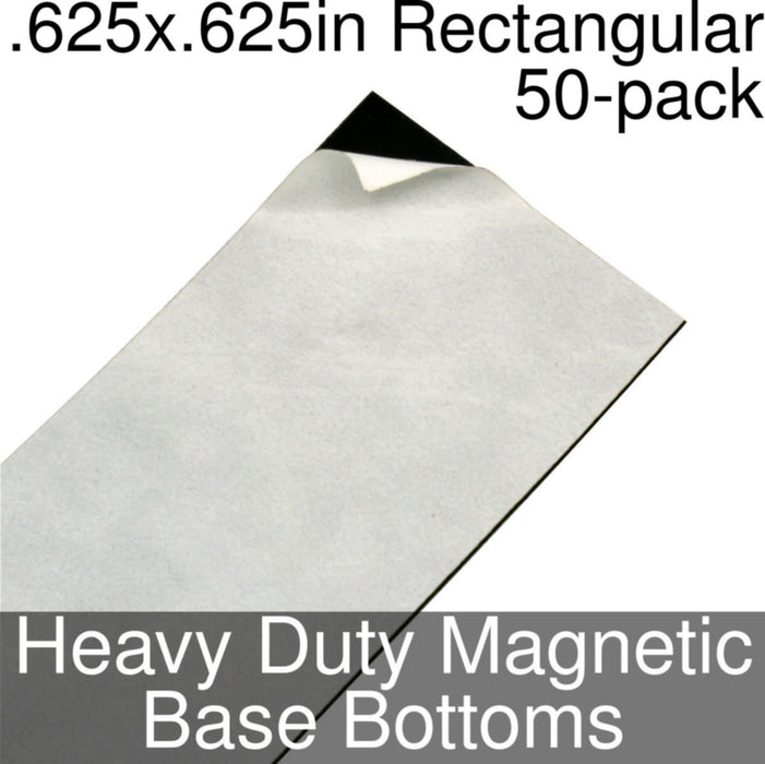 Miniature Base Bottoms, Rectangular, .625x.625inch, Heavy Duty Magnet (50) - LITKO Game Accessories