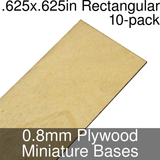 Miniature Bases, Rectangular, .625x.625inch, 0.8mm Plywood (10) - LITKO Game Accessories