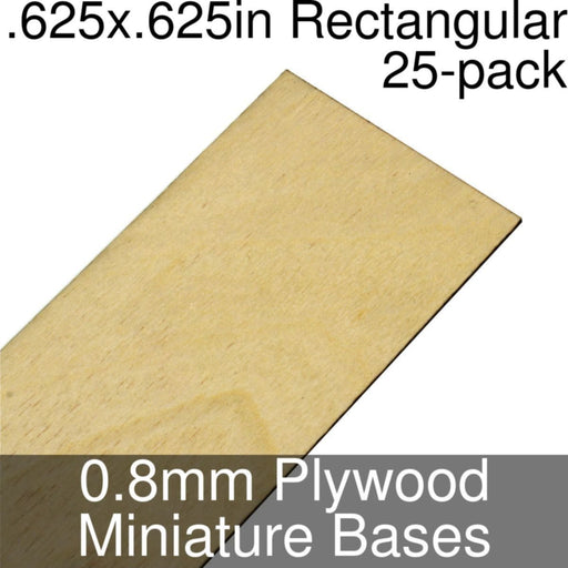 Miniature Bases, Rectangular, .625x.625inch, 0.8mm Plywood (25) - LITKO Game Accessories