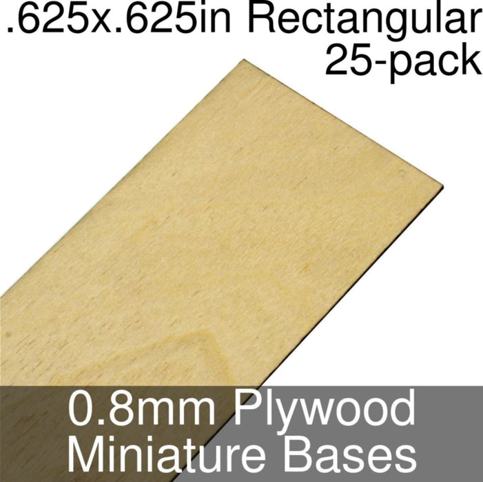 Miniature Bases, Square, 0.625inch, 0.8mm Plywood (25) - LITKO Game Accessories