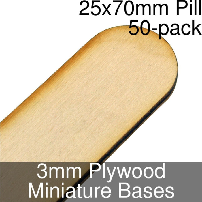 Miniature Bases, Pill, 25x70mm, 3mm Plywood (50) - LITKO Game Accessories