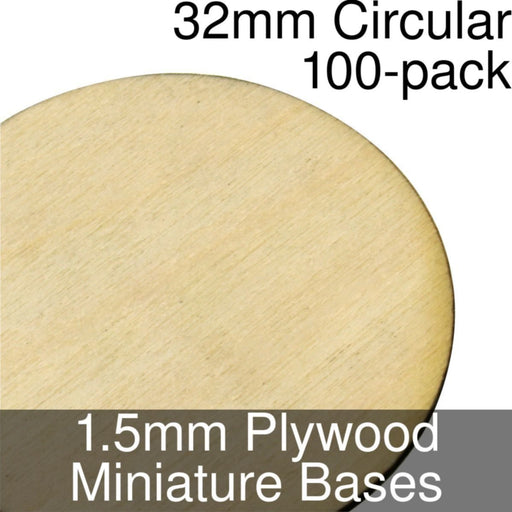 Miniature Bases, Circular, 32mm, 1.5mm Plywood (100) - LITKO Game Accessories