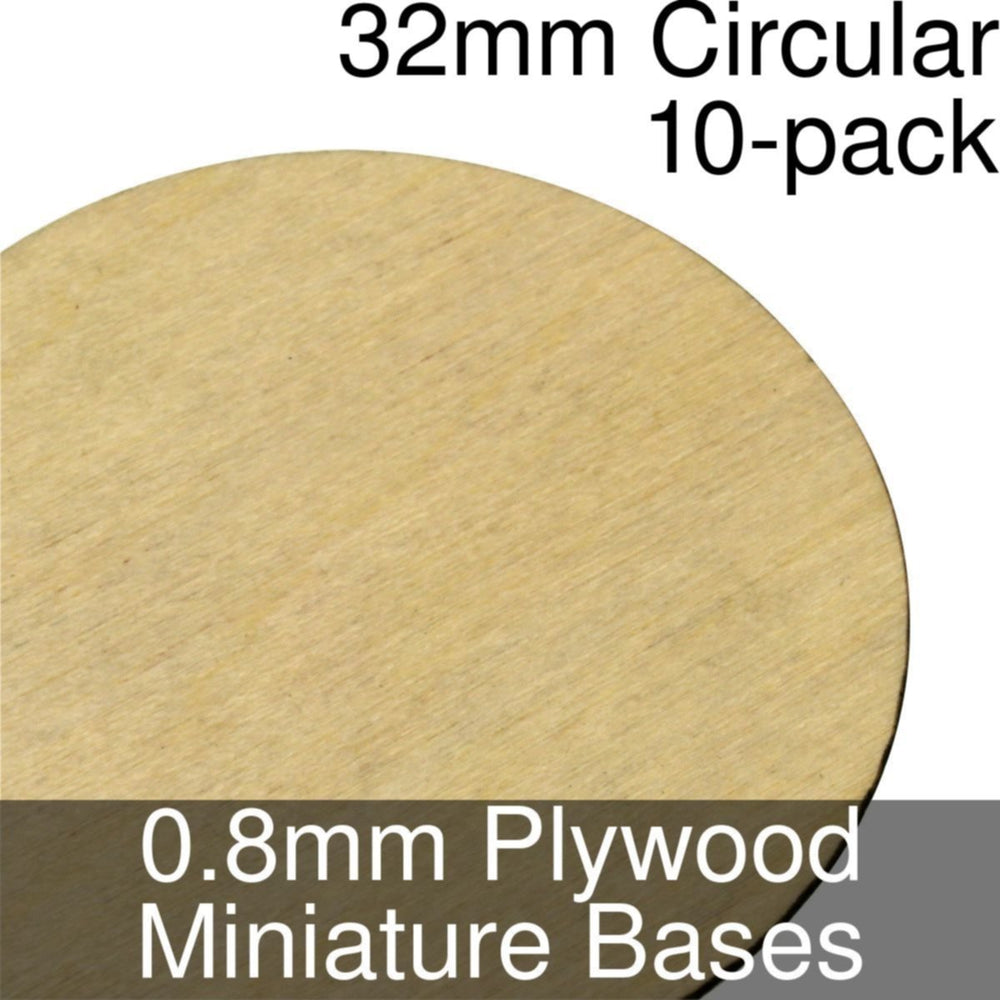 Miniature Bases, Circular, 32mm, 0.8mm Plywood (10) - LITKO Game Accessories