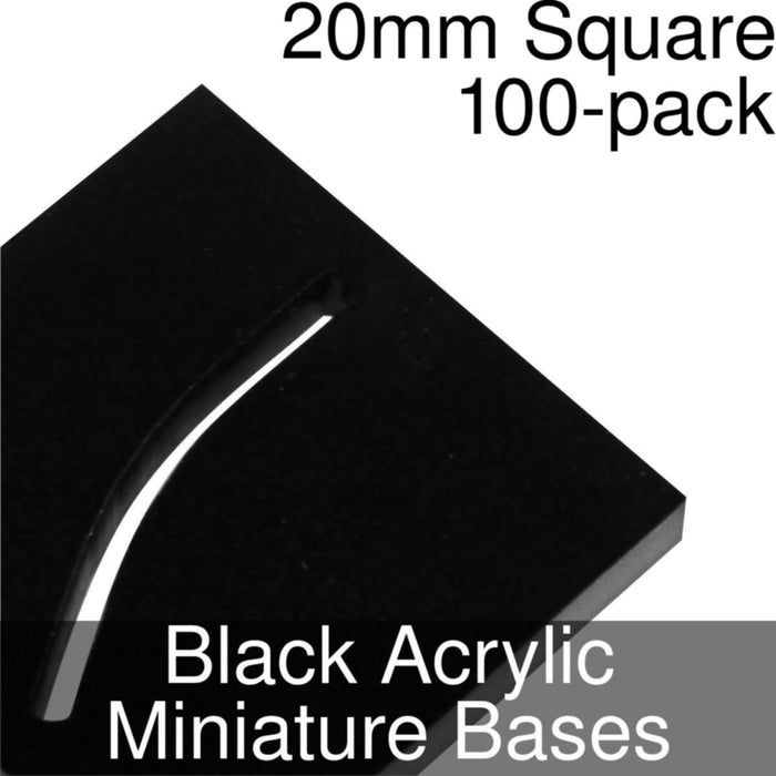 Miniature Bases, Square, 20mm (Paper Mini Slot), 3mm Black Acrylic (100) - LITKO Game Accessories