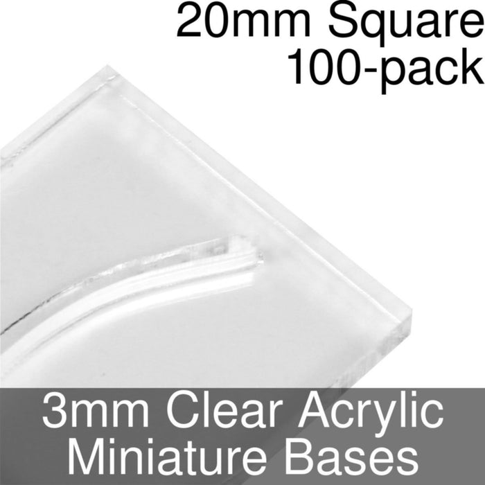 Miniature Bases, Square, 20mm (Paper Mini Slot), 3mm Clear (100) - LITKO Game Accessories