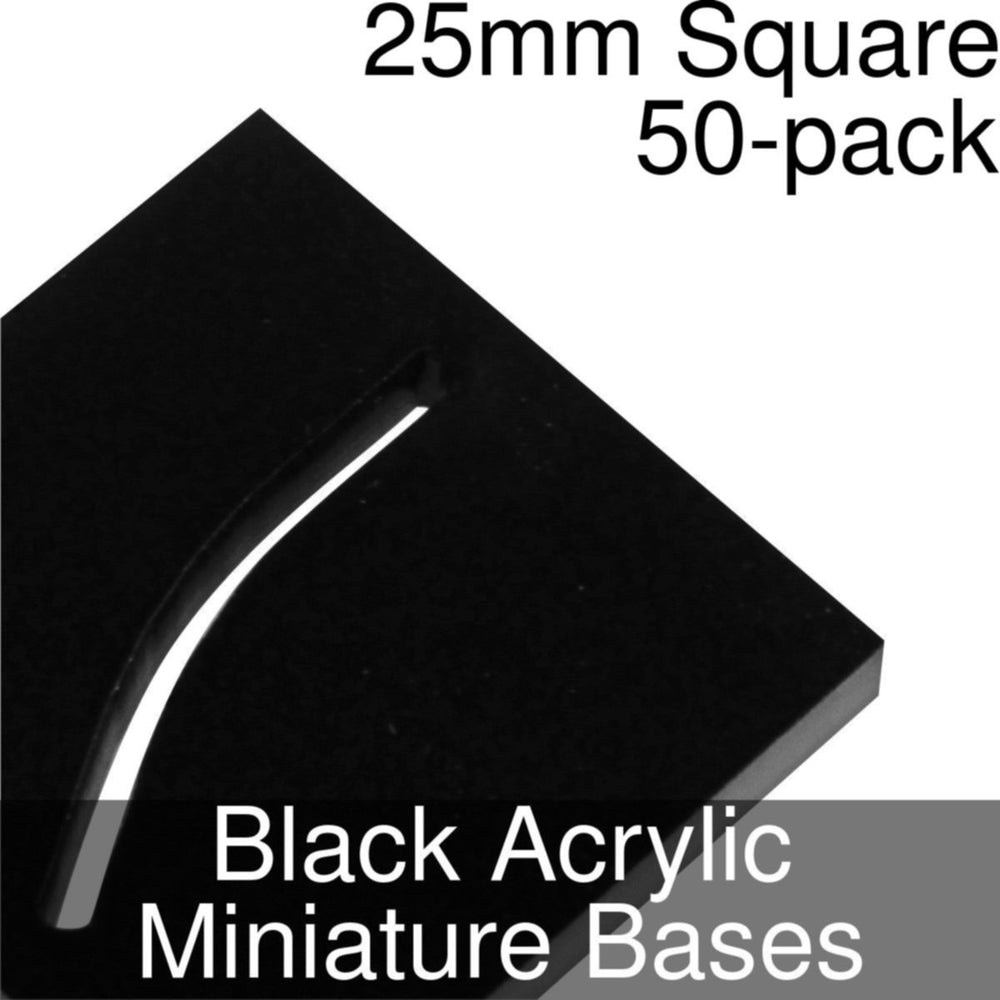 Miniature Bases, Square, 25mm (Paper Mini Slot), 3mm Black Acrylic (50) - LITKO Game Accessories