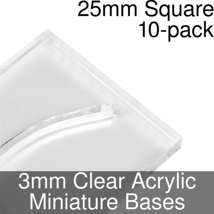 Miniature Bases, Square, 25mm (Paper Mini Slot), 3mm Clear (10) - LITKO Game Accessories