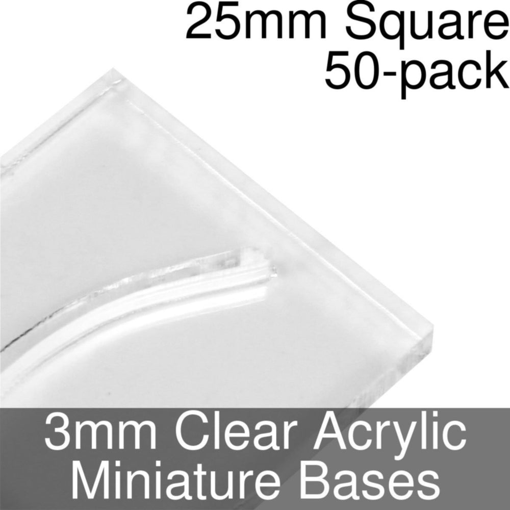 Miniature Bases, Square, 25mm (Paper Mini Slot), 3mm Clear (50) - LITKO Game Accessories