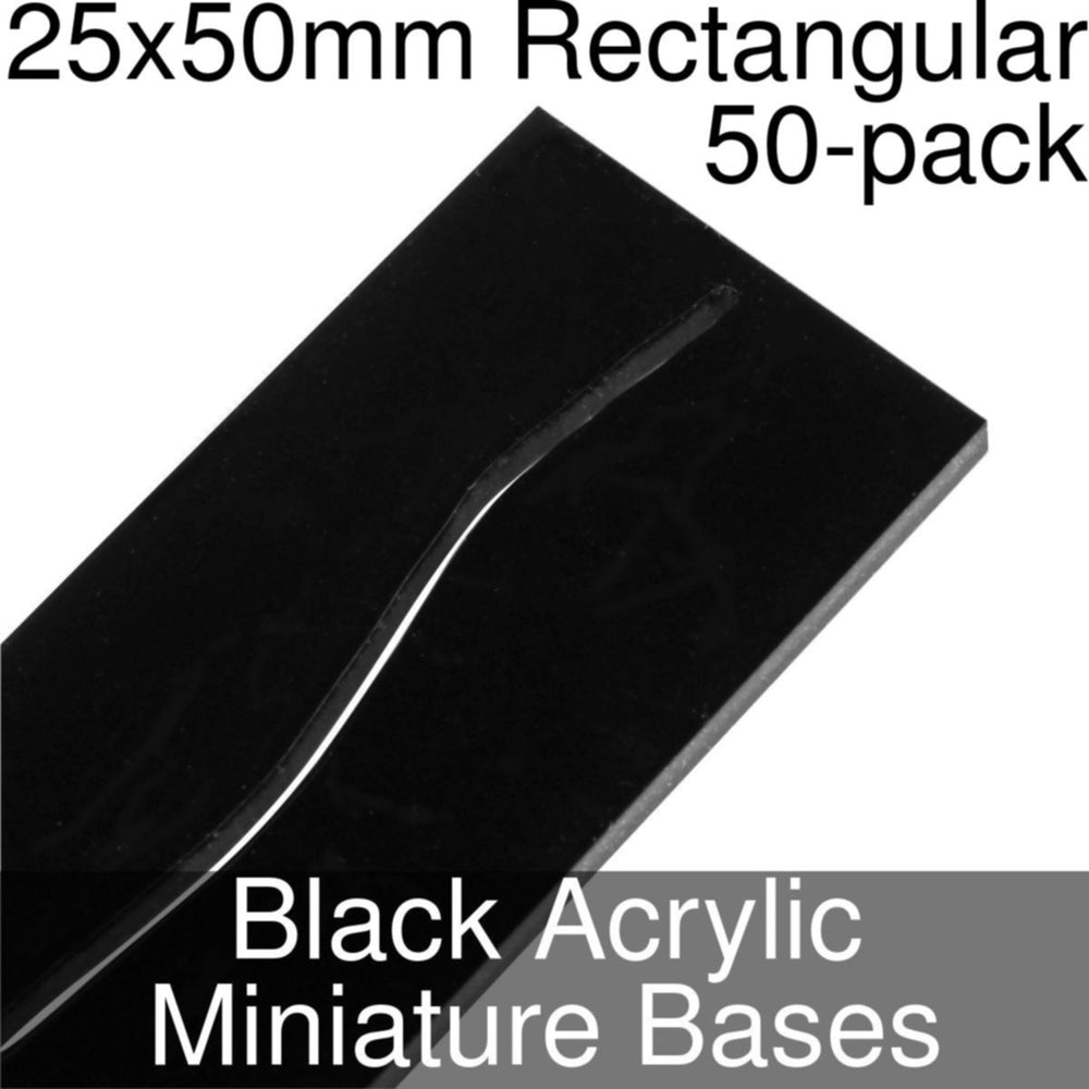 Miniature Bases, Rectangular, 25x50mm (Paper Mini Slot), 3mm Black Acrylic (50) - LITKO Game Accessories