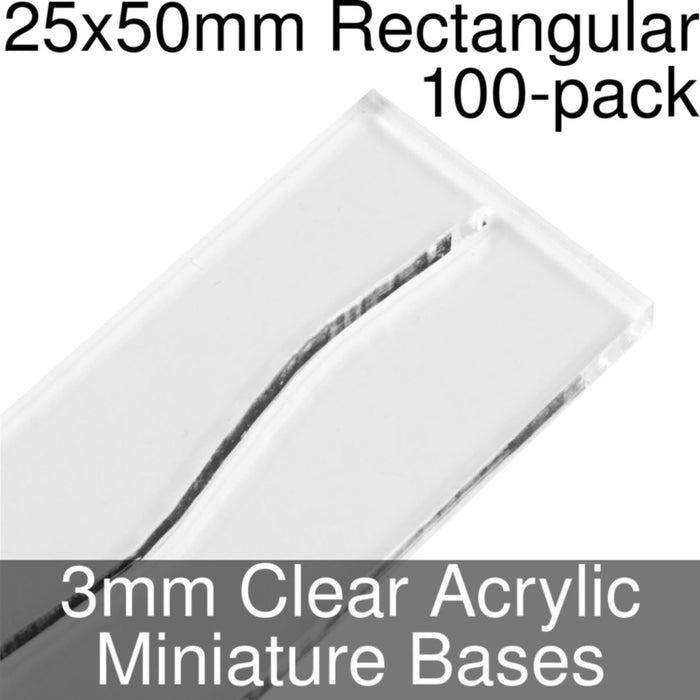 Miniature Bases, Rectangular, 25x50mm (Paper Mini Slot), 3mm Clear (100) - LITKO Game Accessories