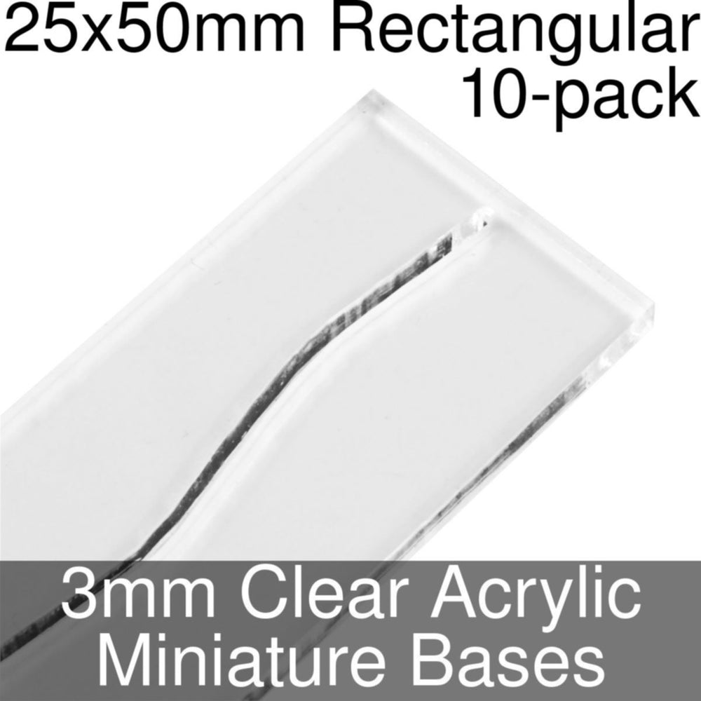 Miniature Bases, Rectangular, 25x50mm (Paper Mini Slot), 3mm Clear (10) - LITKO Game Accessories
