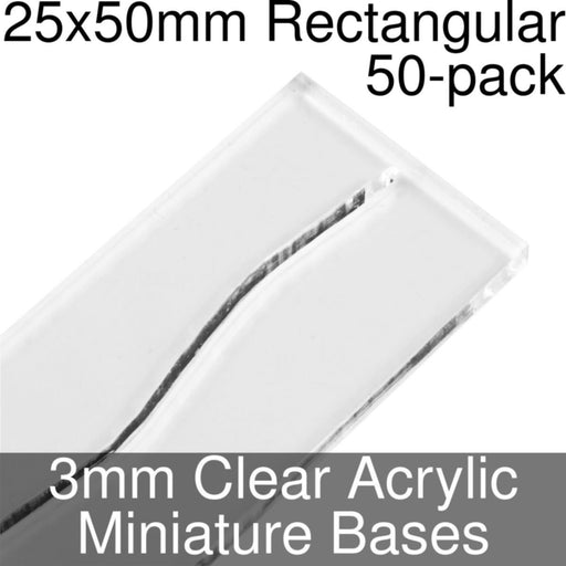 Miniature Bases, Rectangular, 25x50mm (Paper Mini Slot), 3mm Clear (50) - LITKO Game Accessories