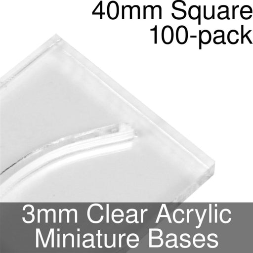 Miniature Bases, Square, 40mm (Paper Mini Slot), 3mm Clear (100) - LITKO Game Accessories