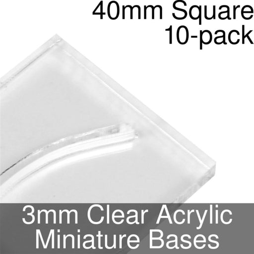 Miniature Bases, Square, 40mm (Paper Mini Slot), 3mm Clear (10) - LITKO Game Accessories