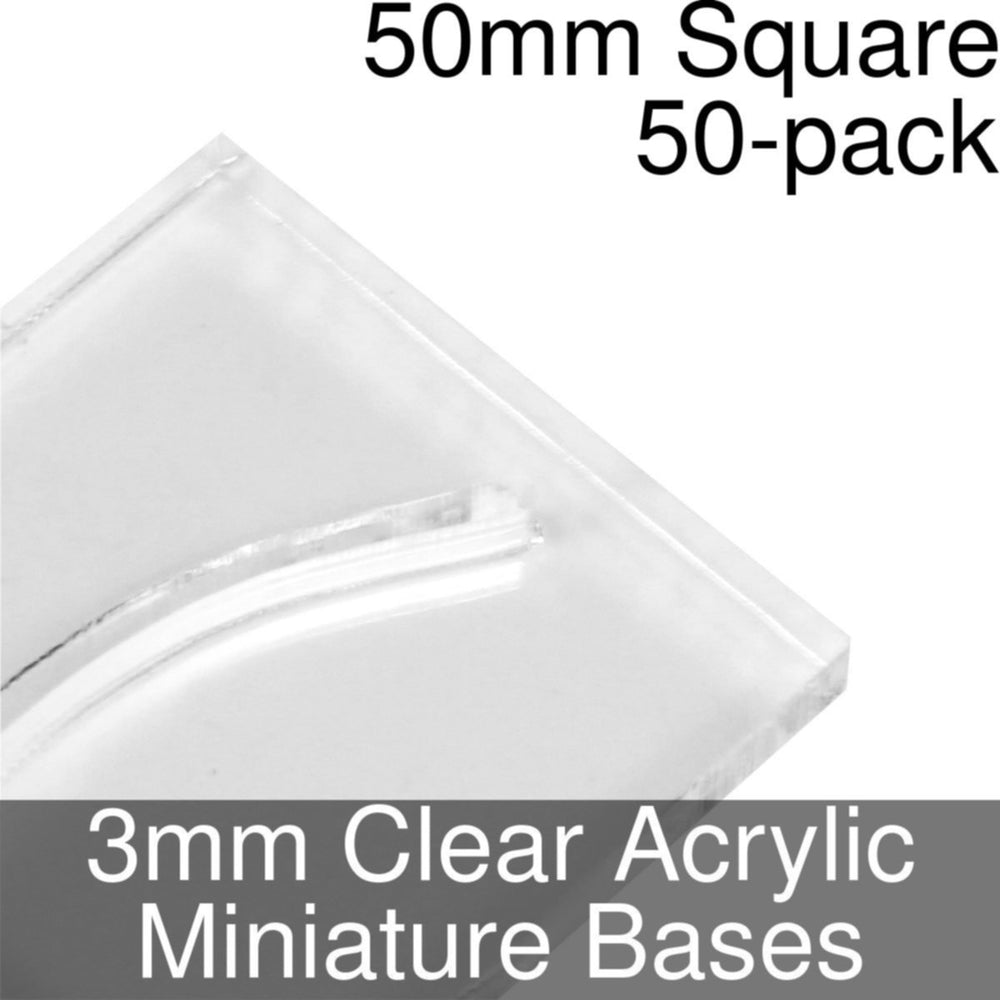 Miniature Bases, Square, 50mm (Paper Mini Slot), 3mm Clear (50) - LITKO Game Accessories