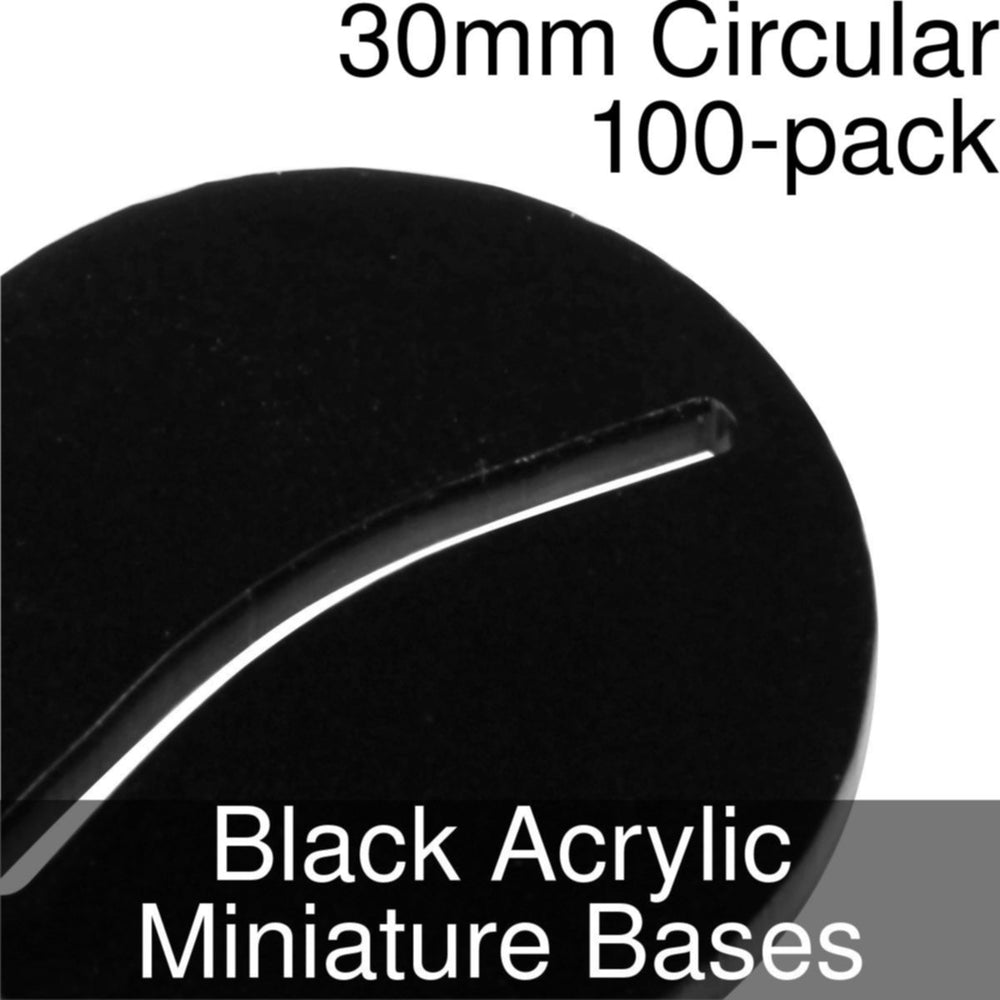 Miniature Bases, Circular, 30mm (Paper Mini Slot), 3mm Black Acrylic (100) - LITKO Game Accessories