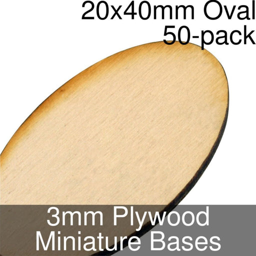 Miniature Bases, Oval, 20x40mm, 3mm Plywood (50) - LITKO Game Accessories
