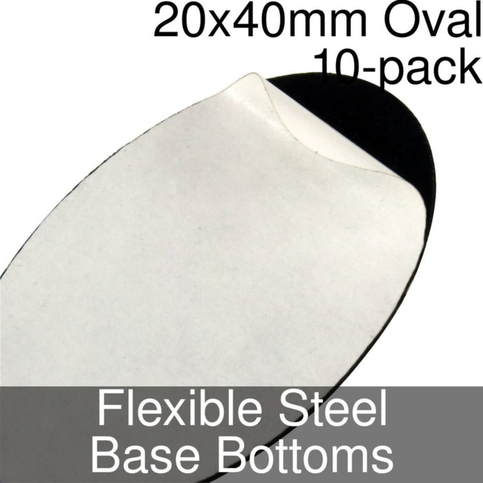 Miniature Base Bottoms, Oval, 20x40mm, Flexible Steel (10) - LITKO Game Accessories