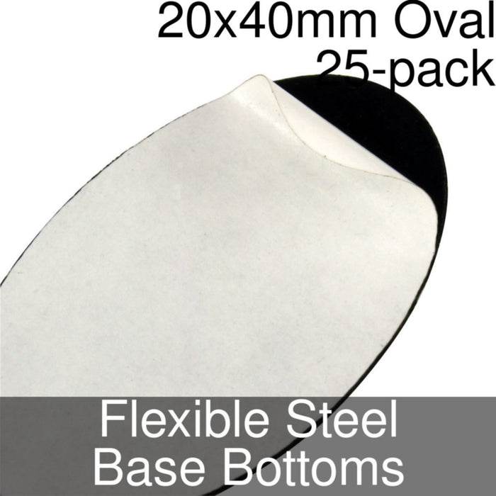 Miniature Base Bottoms, Oval, 20x40mm, Flexible Steel (25) - LITKO Game Accessories