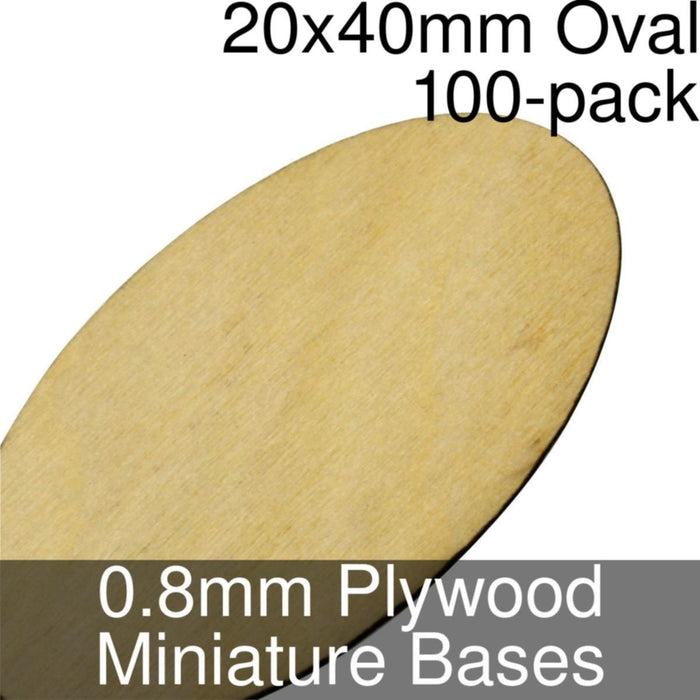 Miniature Bases, Oval, 20x40mm, 0.8mm Plywood (100) - LITKO Game Accessories