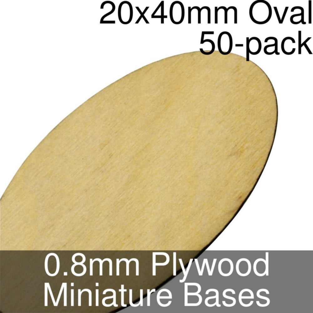 Miniature Bases, Oval, 20x40mm, 0.8mm Plywood (50) - LITKO Game Accessories