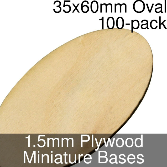 Miniature Bases, Oval, 35x60mm, 1.5mm Plywood (100) - LITKO Game Accessories