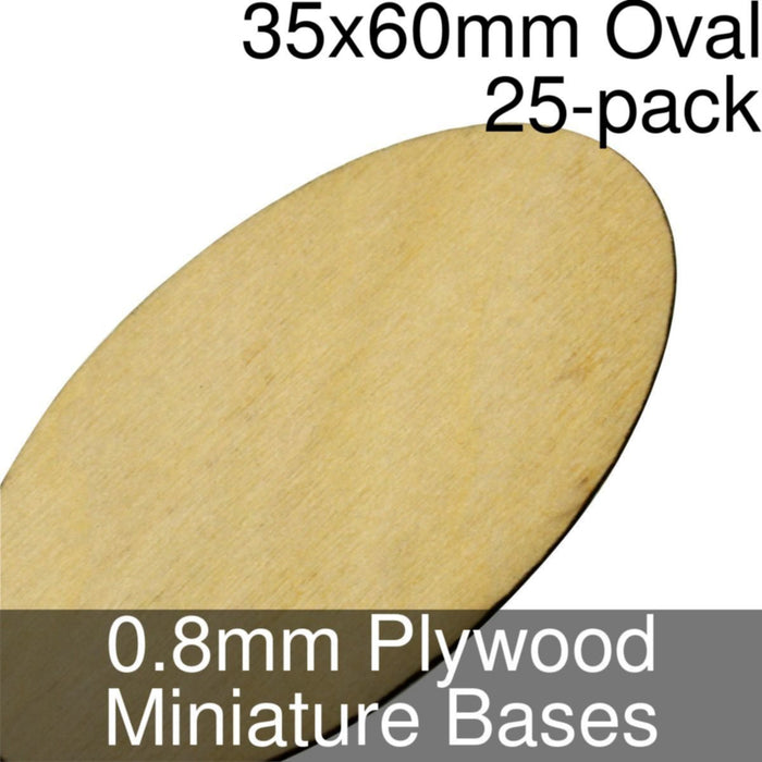 Miniature Bases, Oval, 35x60mm, 0.8mm Plywood (25) - LITKO Game Accessories