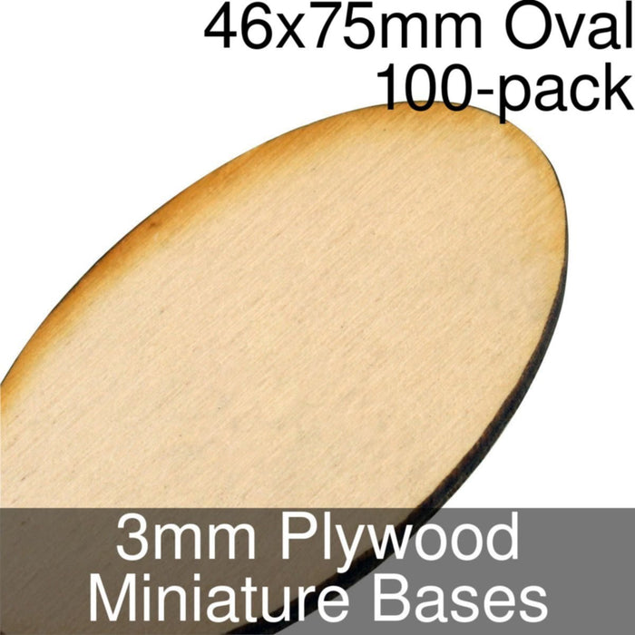 Miniature Bases, Oval, 46x75mm, 3mm Plywood (100) - LITKO Game Accessories