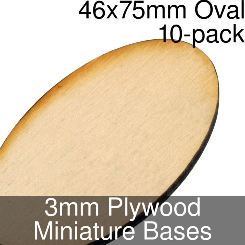 Miniature Bases, Oval, 46x75mm, 3mm Plywood (10) - LITKO Game Accessories
