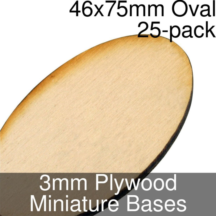 Miniature Bases, Oval, 46x75mm, 3mm Plywood (25) - LITKO Game Accessories