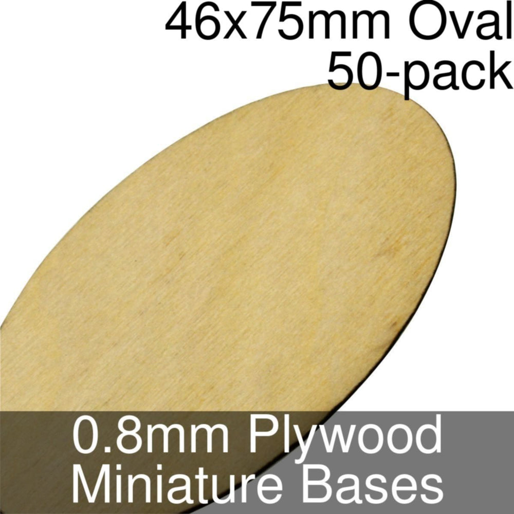 Miniature Bases, Oval, 46x75mm, 0.8mm Plywood (50) - LITKO Game Accessories