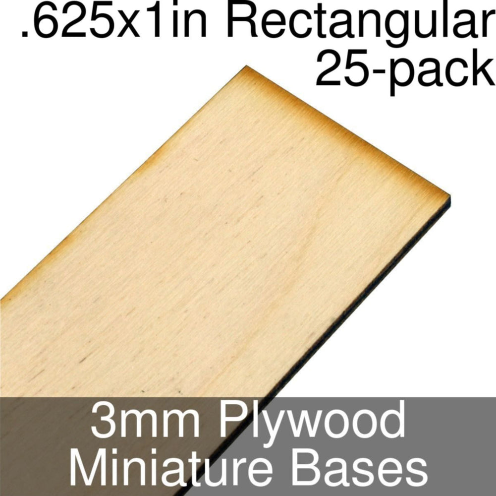 Miniature Bases, Rectangular, .625x1inch, 3mm Plywood (25) - LITKO Game Accessories