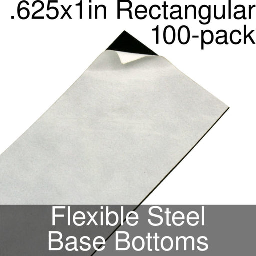 Miniature Base Bottoms, Rectangular, .625x1inch, Flexible Steel (100) - LITKO Game Accessories
