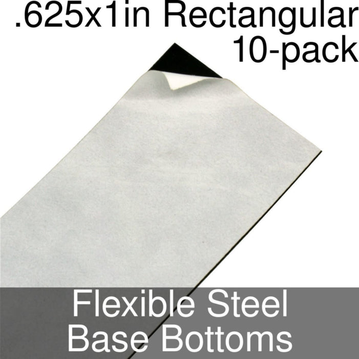 Miniature Base Bottoms, Rectangular, .625x1inch, Flexible Steel (10) - LITKO Game Accessories