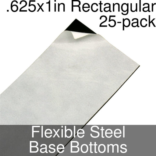 Miniature Base Bottoms, Rectangular, .625x1inch, Flexible Steel (25) - LITKO Game Accessories
