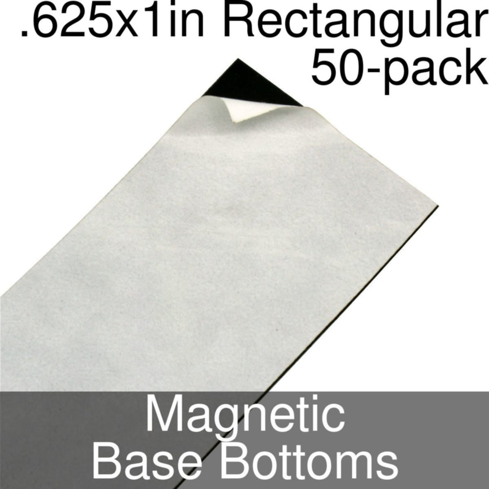 Miniature Base Bottoms, Rectangular, .625x1inch, Magnet (50) - LITKO Game Accessories