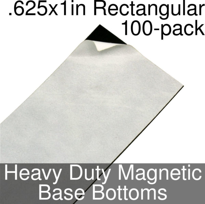 Miniature Base Bottoms, Rectangular, .625x1inch, Heavy Duty Magnet (100) - LITKO Game Accessories