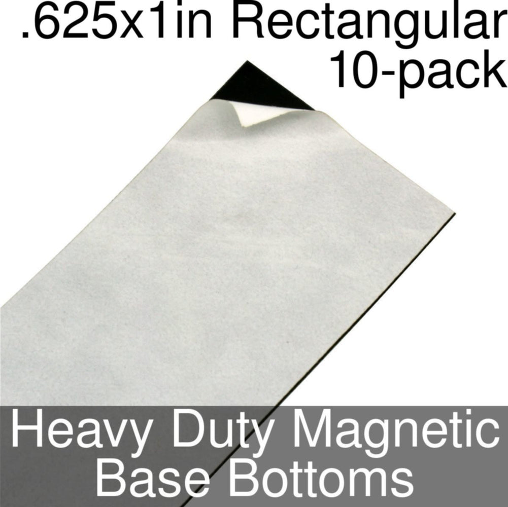 Miniature Base Bottoms, Rectangular, .625x1inch, Heavy Duty Magnet (10) - LITKO Game Accessories