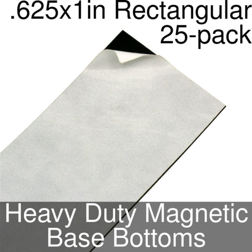 Miniature Base Bottoms, Rectangular, .625x1inch, Heavy Duty Magnet (25) - LITKO Game Accessories