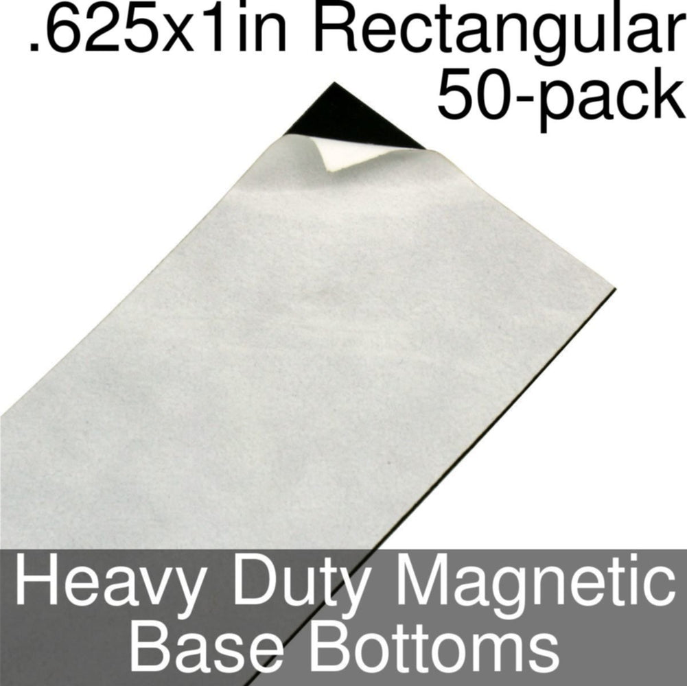 Miniature Base Bottoms, Rectangular, .625x1inch, Heavy Duty Magnet (50) - LITKO Game Accessories