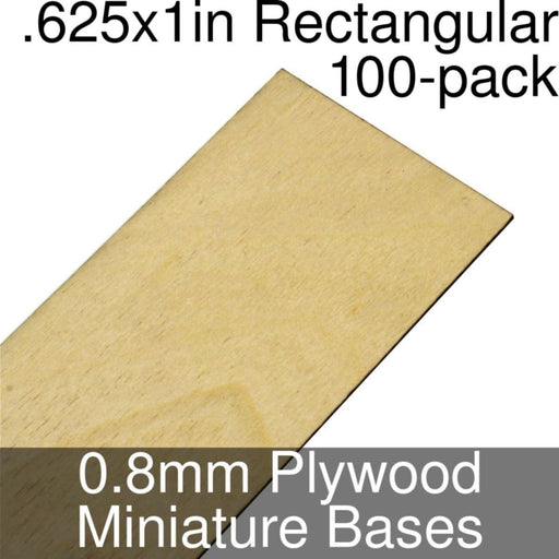 Miniature Bases, Rectangular, .625x1inch, 0.8mm Plywood (100) - LITKO Game Accessories