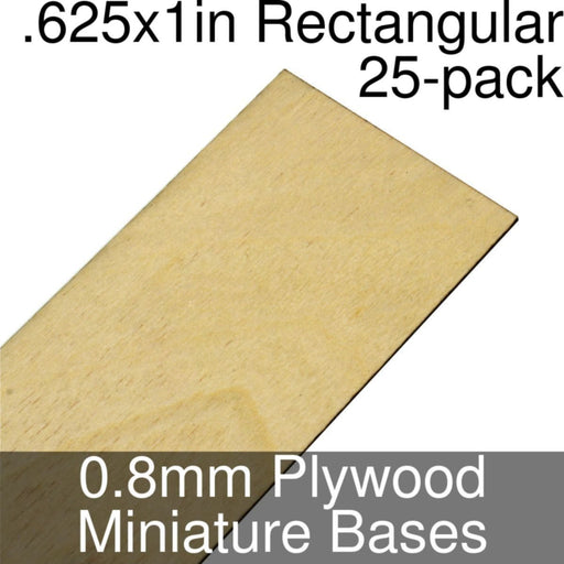 Miniature Bases, Rectangular, .625x1inch, 0.8mm Plywood (25) - LITKO Game Accessories