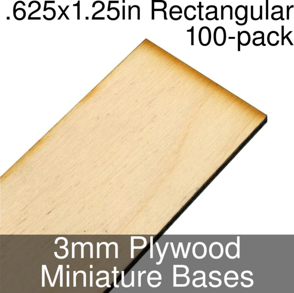 Miniature Bases, Rectangular, .625x1.25inch, 3mm Plywood (100) - LITKO Game Accessories