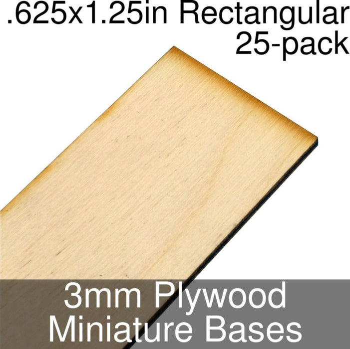 Miniature Bases, Rectangular, .625x1.25inch, 3mm Plywood (25) - LITKO Game Accessories