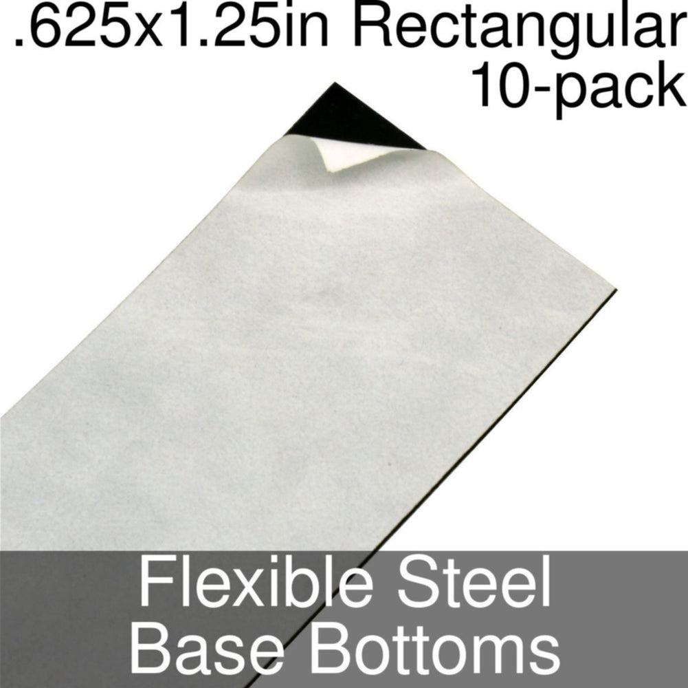 Miniature Base Bottoms, Rectangular, .625x1.25inch, Flexible Steel (10) - LITKO Game Accessories