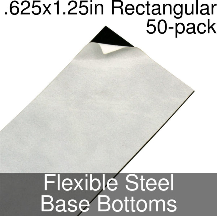 Miniature Base Bottoms, Rectangular, .625x1.25inch, Flexible Steel (50) - LITKO Game Accessories
